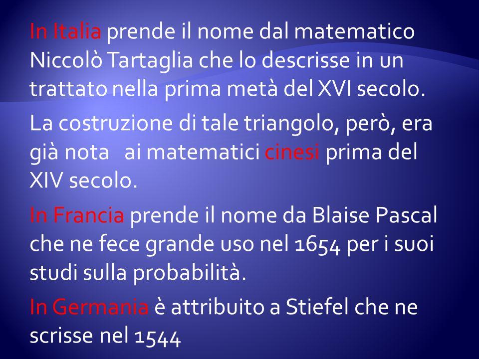 In Italia prende il nome dal matematico Niccolò Tartaglia che lo descrisse in un trattato nella prima metà del XVI secolo. La costruzione di tale tria