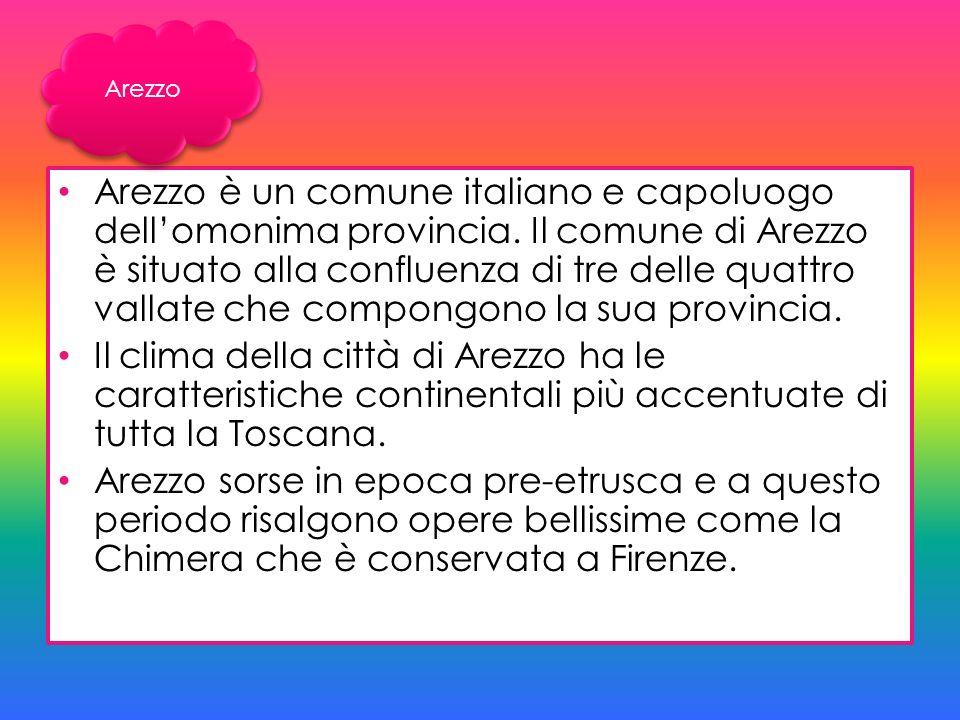 Arezzo è un comune italiano e capoluogo dellomonima provincia. Il comune di Arezzo è situato alla confluenza di tre delle quattro vallate che compongo