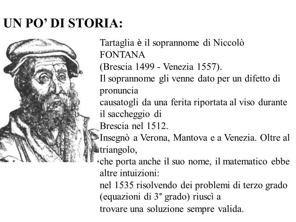 UN PO DI STORIA: Tartaglia è il soprannome di Niccolò FONTANA (Brescia 1499 - Venezia 1557). Il soprannome gli venne dato per un difetto di pronuncia