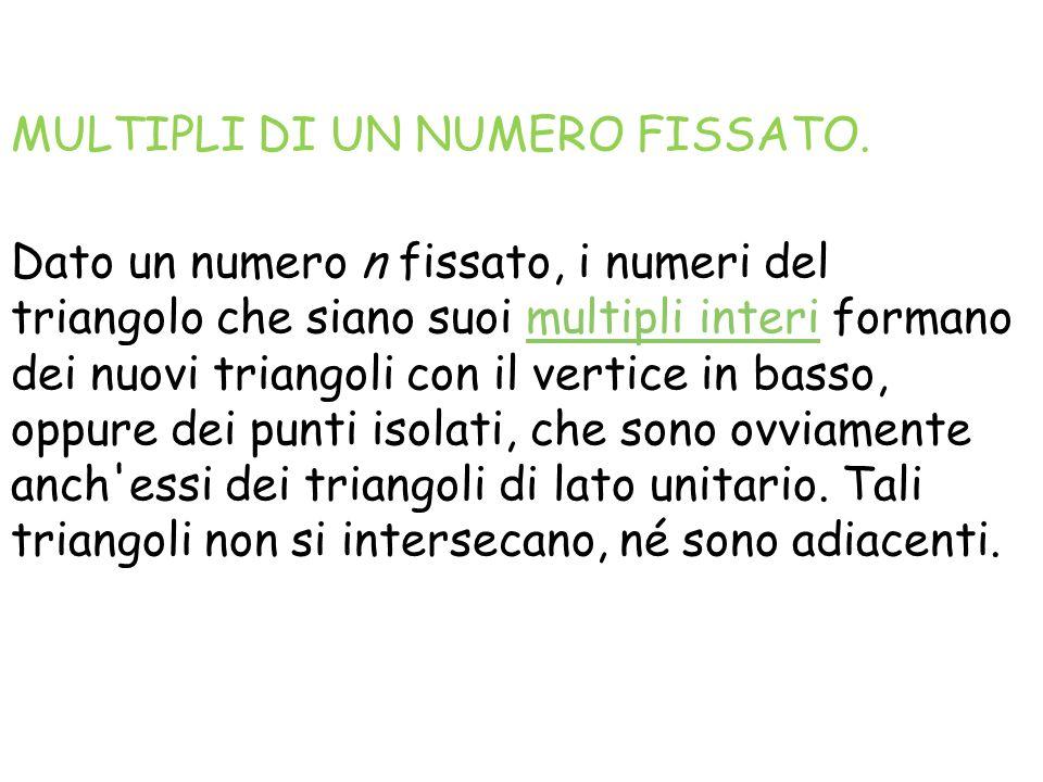 MULTIPLI DI UN NUMERO FISSATO. Dato un numero n fissato, i numeri del triangolo che siano suoi multipli interi formano dei nuovi triangoli con il vert