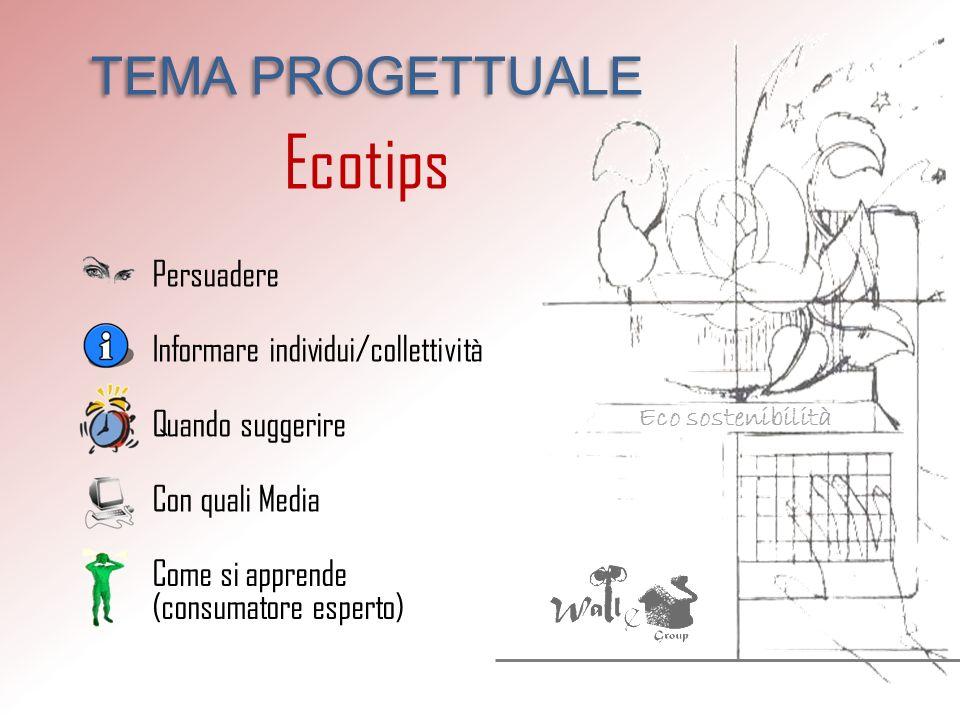 Eco sostenibilità TEMA PROGETTUALE Ecotips Persuadere Informare individui/collettività Quando suggerire Con quali Media Come si apprende (consumatore esperto)