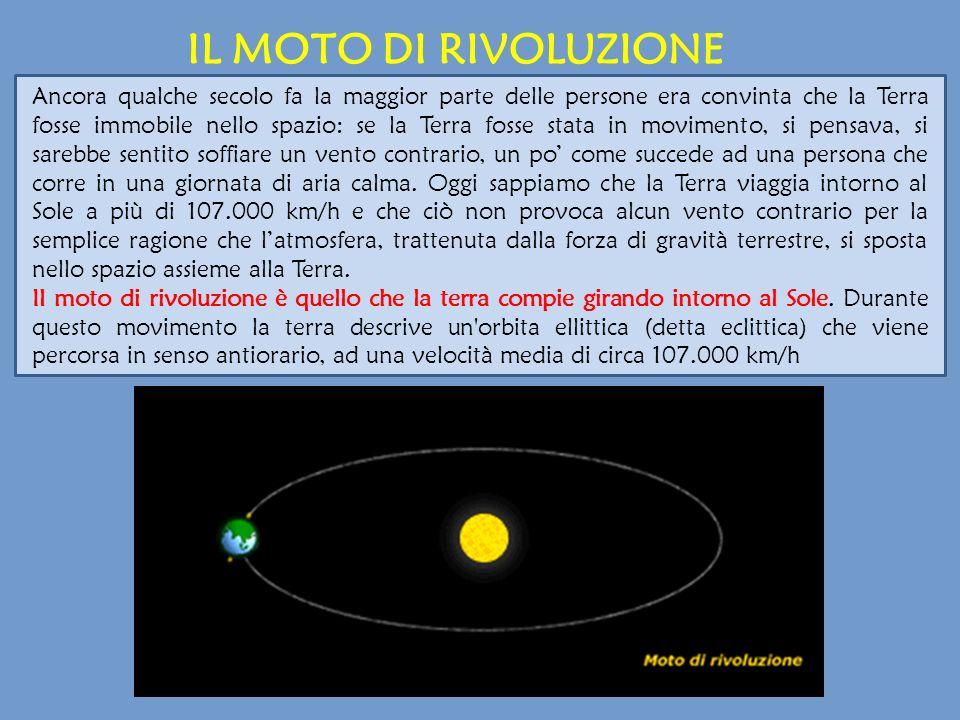 IL MOTO DI RIVOLUZIONE Ancora qualche secolo fa la maggior parte delle persone era convinta che la Terra fosse immobile nello spazio: se la Terra foss