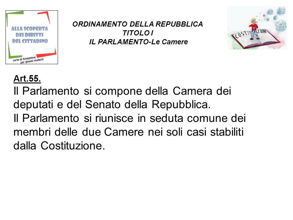 Art.55. Il Parlamento si compone della Camera dei deputati e del Senato della Repubblica.