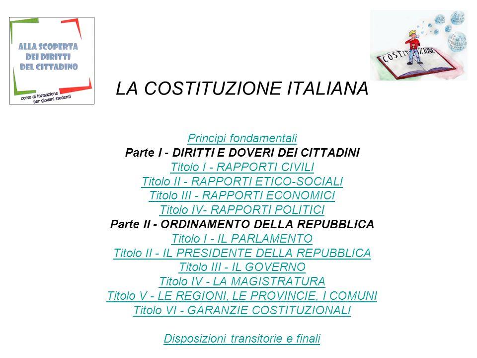 LA COSTITUZIONE ITALIANA Principi fondamentali Parte I - DIRITTI E DOVERI DEI CITTADINI Titolo I - RAPPORTI CIVILI Titolo II - RAPPORTI ETICO-SOCIALI Titolo III - RAPPORTI ECONOMICI Titolo IV- RAPPORTI POLITICI Parte II - ORDINAMENTO DELLA REPUBBLICA Titolo I - IL PARLAMENTO Titolo II - IL PRESIDENTE DELLA REPUBBLICA Titolo III - IL GOVERNO Titolo IV - LA MAGISTRATURA Titolo V - LE REGIONI, LE PROVINCIE, I COMUNI Titolo VI - GARANZIE COSTITUZIONALI Disposizioni transitorie e finali Principi fondamentali Titolo I - RAPPORTI CIVILI Titolo II - RAPPORTI ETICO-SOCIALI Titolo III - RAPPORTI ECONOMICI Titolo IV- RAPPORTI POLITICI Titolo I - IL PARLAMENTO Titolo II - IL PRESIDENTE DELLA REPUBBLICA Titolo III - IL GOVERNO Titolo IV - LA MAGISTRATURA Titolo V - LE REGIONI, LE PROVINCIE, I COMUNI Titolo VI - GARANZIE COSTITUZIONALI Disposizioni transitorie e finali