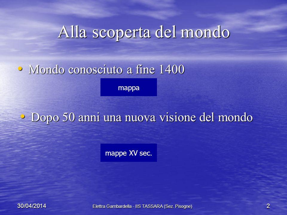I viaggi oceanici da Colombo al commercio triangolare: due secoli di navigazione e di conquiste 130/04/2014 Elettra Gambardella - IIS TASSARA (Sez. Pi
