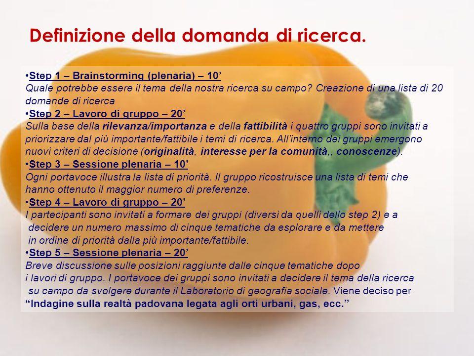 Step 1 – Brainstorming (plenaria) – 10 Quale potrebbe essere il tema della nostra ricerca su campo.