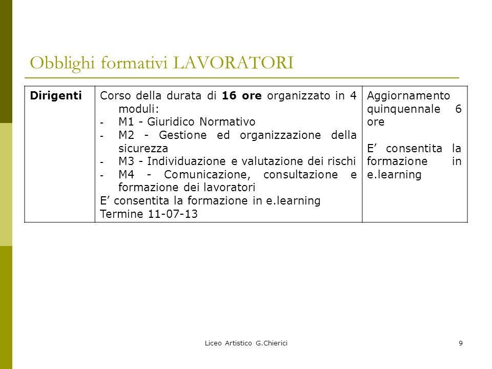 Liceo Artistico G.Chierici10 Obblighi formativi LAVORATORI.