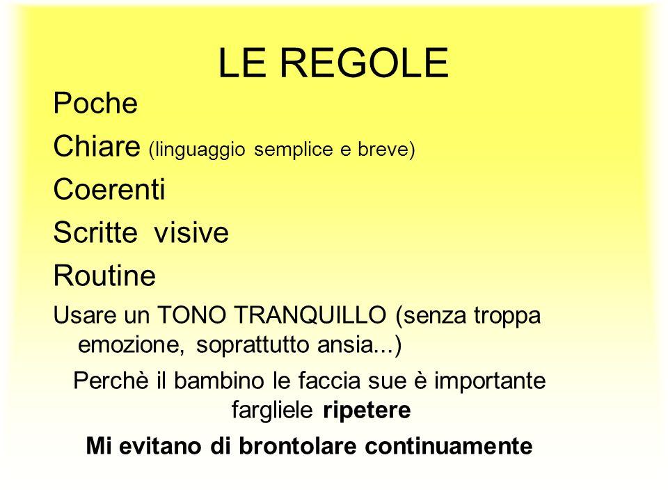 LE REGOLE Poche Chiare (linguaggio semplice e breve) Coerenti Scritte visive Routine Usare un TONO TRANQUILLO (senza troppa emozione, soprattutto ansi