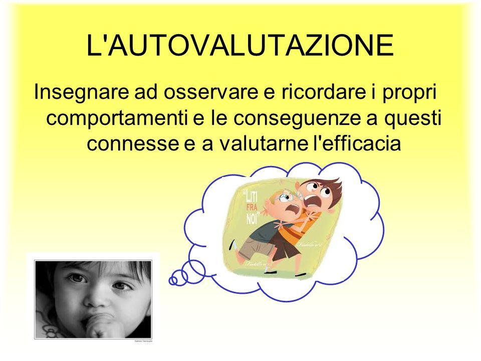 L'AUTOVALUTAZIONE Insegnare ad osservare e ricordare i propri comportamenti e le conseguenze a questi connesse e a valutarne l'efficacia