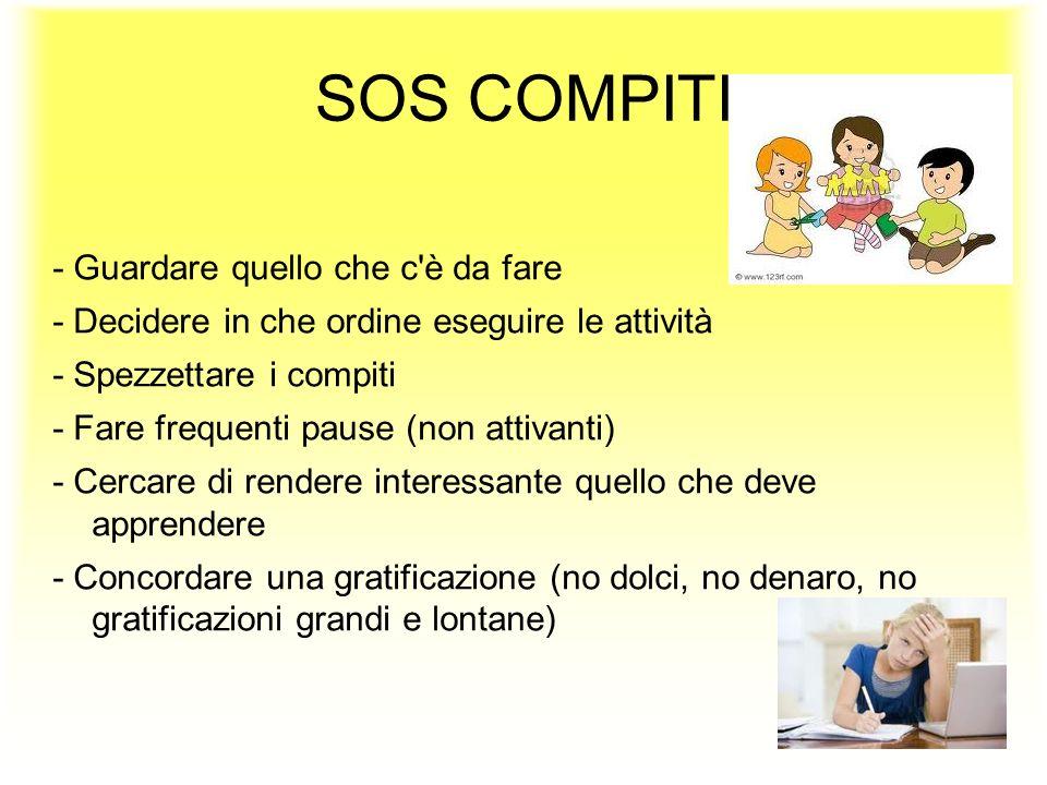 SOS COMPITI - Guardare quello che c'è da fare - Decidere in che ordine eseguire le attività - Spezzettare i compiti - Fare frequenti pause (non attiva