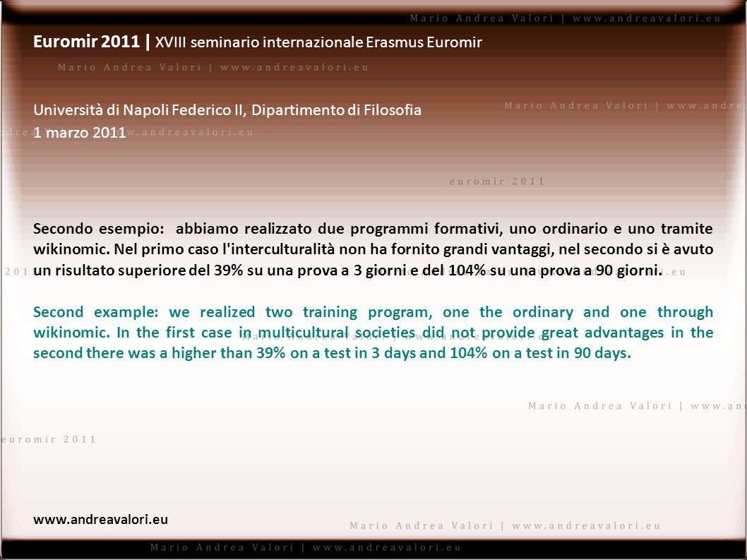 Euromir 2011 | XVIII seminario internazionale Erasmus Euromir Università di Napoli Federico II, Dipartimento di Filosofia 1 marzo 2011 Secondo esempio: abbiamo realizzato due programmi formativi, uno ordinario e uno tramite wikinomic.