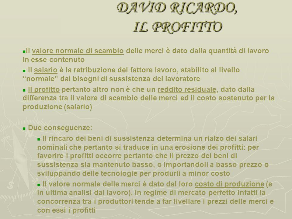 DAVID RICARDO, IL SALARIO Il salario normale è dato dal prezzo dei viveri indispensabili al mantenimento delloperaio e della sua famiglia Detto salari