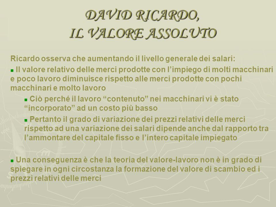 DAVID RICARDO, IL PROFITTO Il valore normale di scambio delle merci è dato dalla quantità di lavoro in esse contenuto Il salario è la retribuzione del