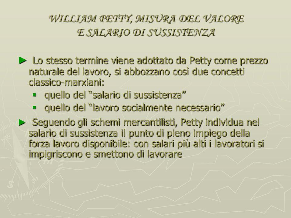 WILLIAM PETTY, MISURA DEL VALORE E SALARIO DI SUSSISTENZA Definito il valore dei beni come risultante di terra e lavoro necessari a produrli, lapprocc