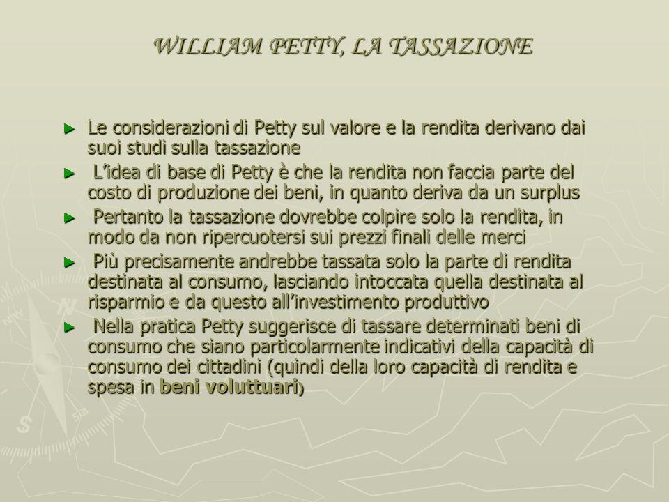 WILLIAM PETTY, RENDITA DIFFERENZIALE Petty sviluppa poi una teoria della rendita differenziale basata sulla differenza dei costi di trasporto delle de