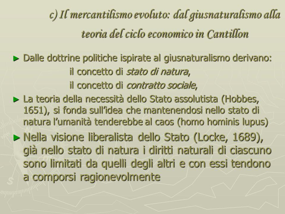 c) Il mercantilismo evoluto: dal giusnaturalismo alla teoria del ciclo economico in Cantillon necessità di dar fondamento teorico al diritto positivo