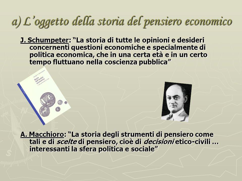 a) Loggetto della storia del pensiero economico J.