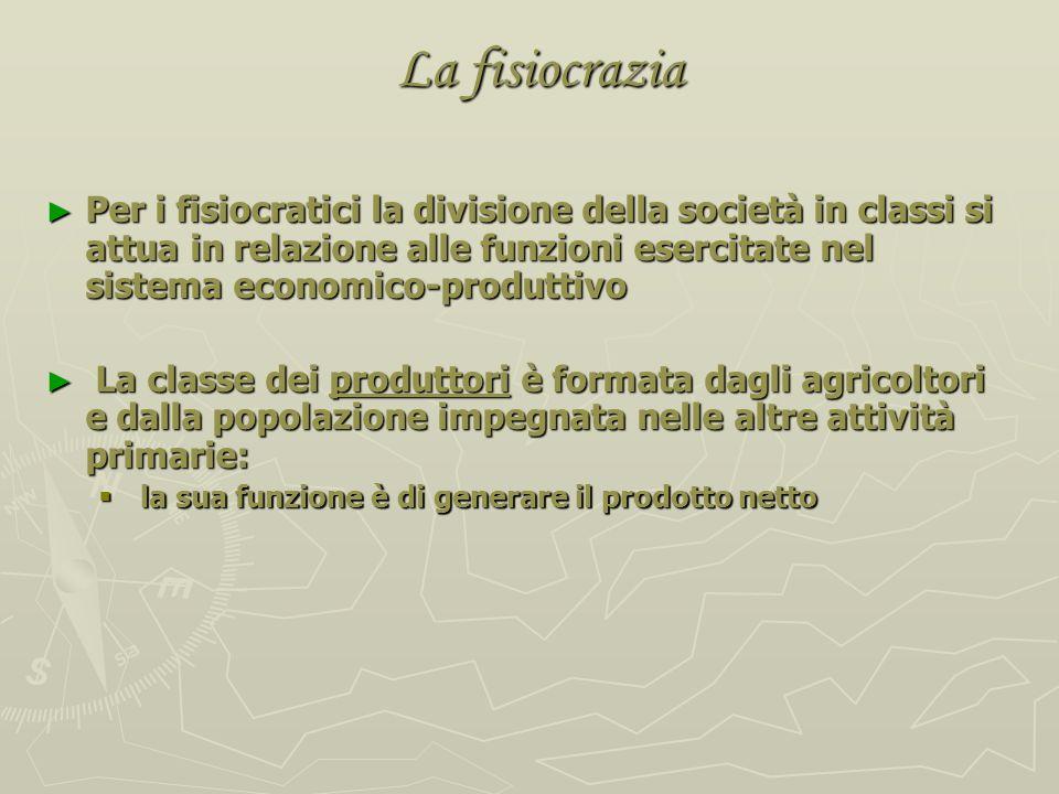 La problematica del Tableau Quesnay identificò 3 distinte classi sociali: Quesnay identificò 3 distinte classi sociali: (1) la classe produttiva (impr