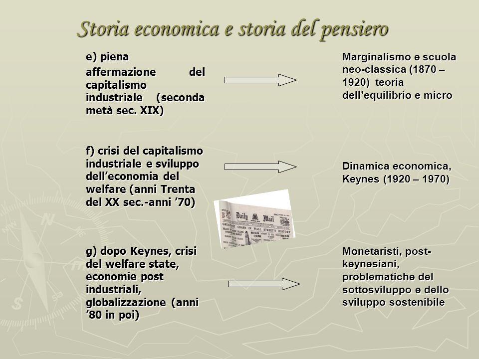 Storia economica e storia del pensiero e) piena affermazione del capitalismo industriale (seconda metà sec.