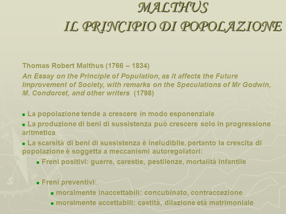 FILONE ILLUMINISTA Le magnifiche sorti e progressive Godwin (Enquiry Concerning Political Justice - 1793) La società e le sue istituzioni corrotte son