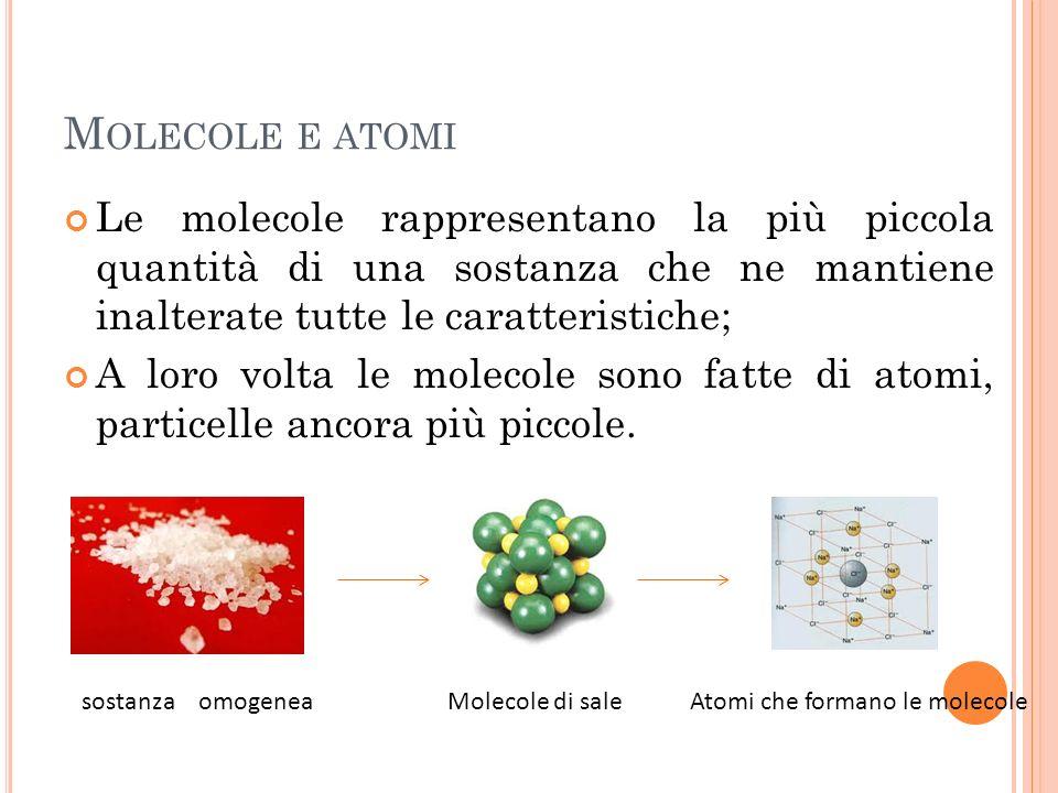 E LEMENTI E COMPOSTI Se gli atomi che formano una sostanza sono tra loro tutti uguali si dice che quella sostanza è un elemento chimico (non si possono dividere in componenti più semplici ); Se gli atomi che formano una sostanza sono diversi tra loro, si dice che quella sostanza è un composto ( si possono dividere negli elementi chimici più semplici ).