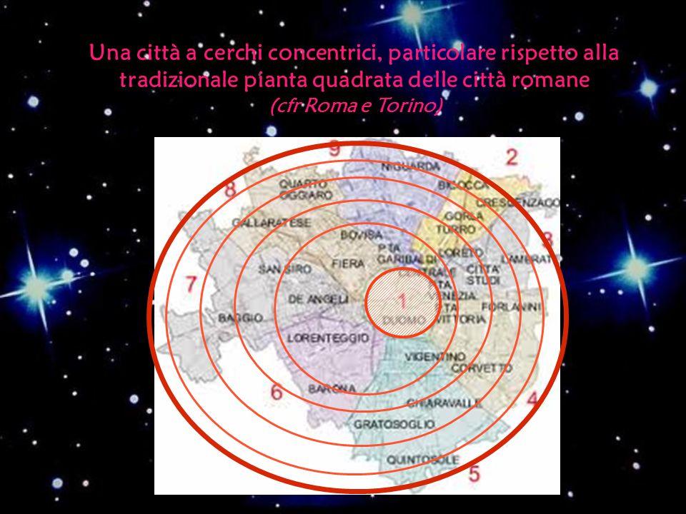Una città a cerchi concentrici, particolare rispetto alla tradizionale pianta quadrata delle città romane (cfr Roma e Torino)