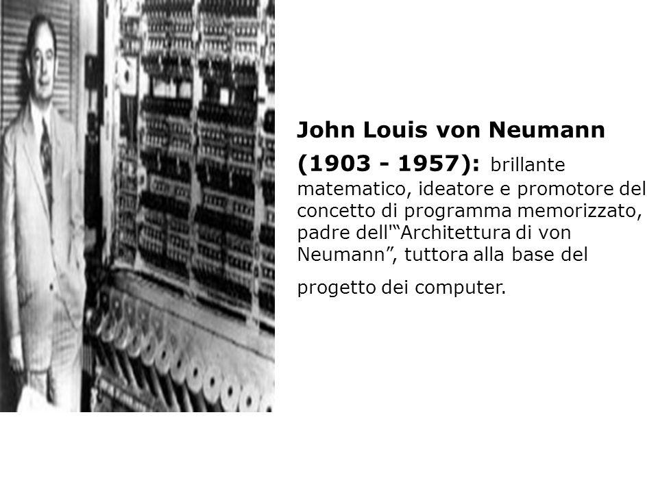 John Louis von Neumann (1903 - 1957): brillante matematico, ideatore e promotore del concetto di programma memorizzato, padre dell'Architettura di von