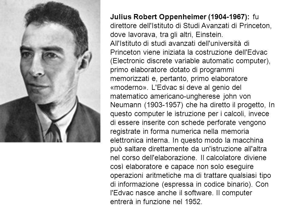 Julius Robert Oppenheimer (1904-1967): fu direttore dell'Istituto di Studi Avanzati di Princeton, dove lavorava, tra gli altri, Einstein. All'Istituto