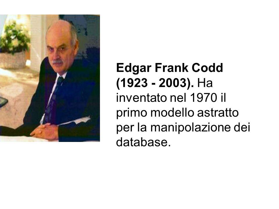 Edgar Frank Codd (1923 - 2003). Ha inventato nel 1970 il primo modello astratto per la manipolazione dei database.