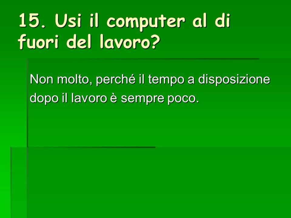 15. Usi il computer al di fuori del lavoro.
