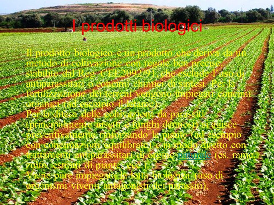 I prodotti biologici Il prodotto biologico è un prodotto che deriva da un metodo di coltivazione con regole ben precise, stabilite dal Reg. CEE2092/91