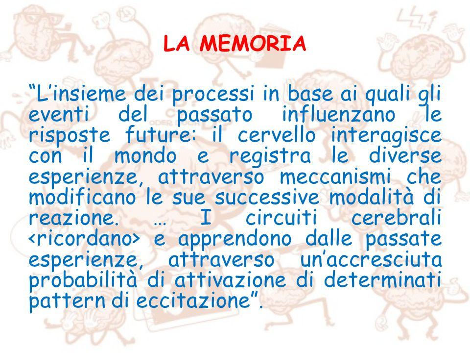 LA MEMORIA Linsieme dei processi in base ai quali gli eventi del passato influenzano le risposte future: il cervello interagisce con il mondo e regist