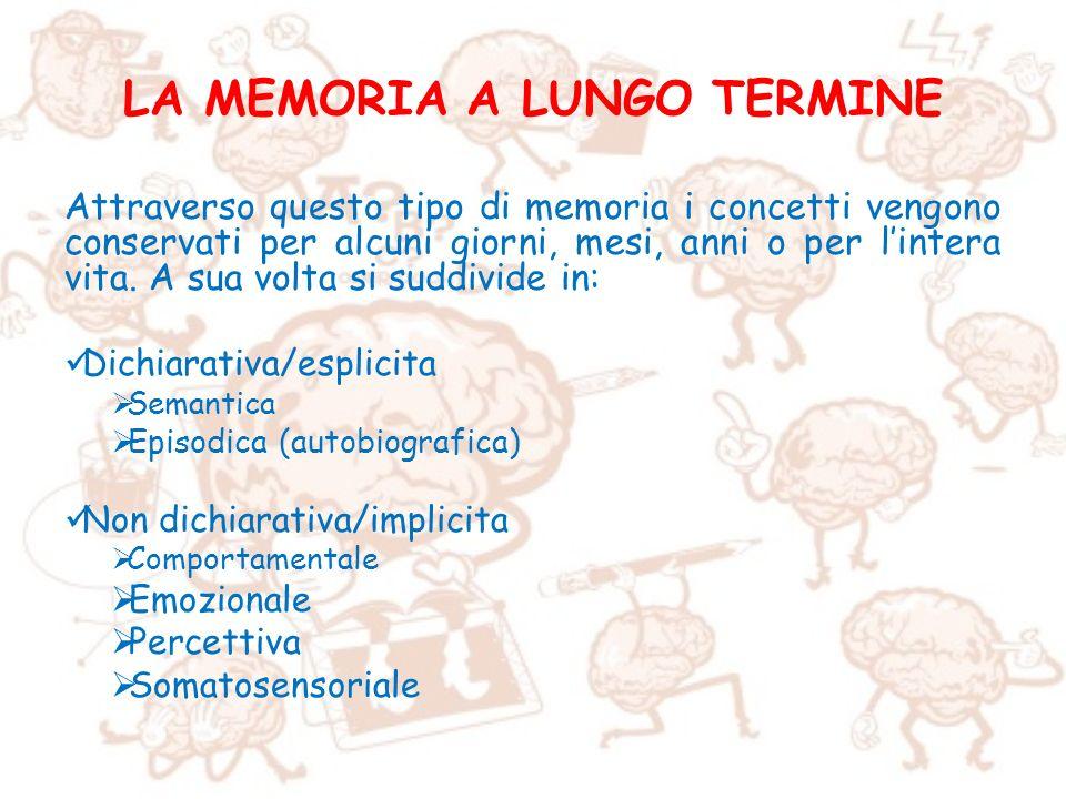 LA MEMORIA A LUNGO TERMINE Attraverso questo tipo di memoria i concetti vengono conservati per alcuni giorni, mesi, anni o per lintera vita. A sua vol