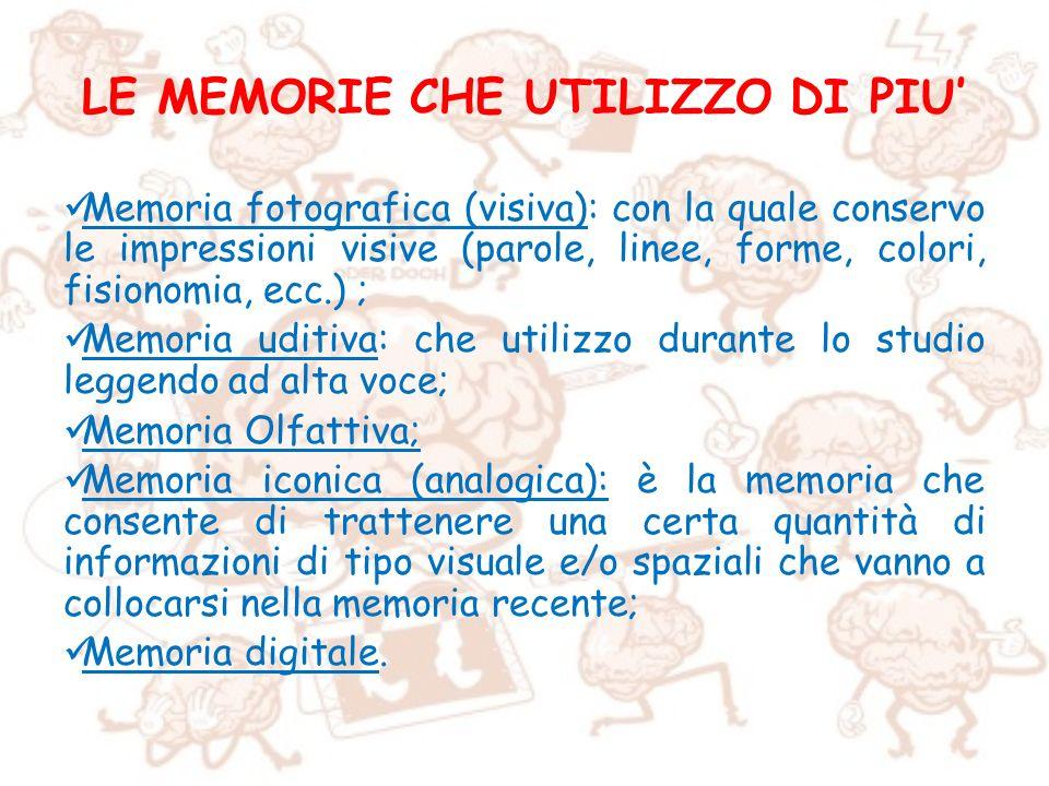 LE MEMORIE CHE UTILIZZO DI PIU Memoria fotografica (visiva): con la quale conservo le impressioni visive (parole, linee, forme, colori, fisionomia, ec