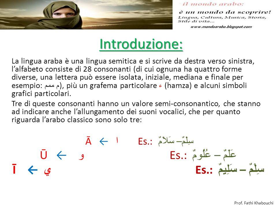 Introduzione: La lingua araba è una lingua semitica e si scrive da destra verso sinistra, lalfabeto consiste di 28 consonanti (di cui ognuna ha quattr