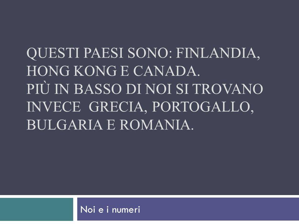 QUESTI PAESI SONO: FINLANDIA, HONG KONG E CANADA. PIÙ IN BASSO DI NOI SI TROVANO INVECE GRECIA, PORTOGALLO, BULGARIA E ROMANIA. Noi e i numeri