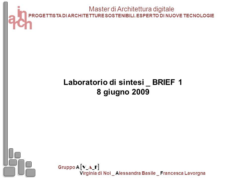Laboratorio di sintesi _ BRIEF 1 8 giugno 2009 Master di Architettura digitale PROGETTISTA DI ARCHITETTURE SOSTENIBILI. ESPERTO DI NUOVE TECNOLOGIE Gr