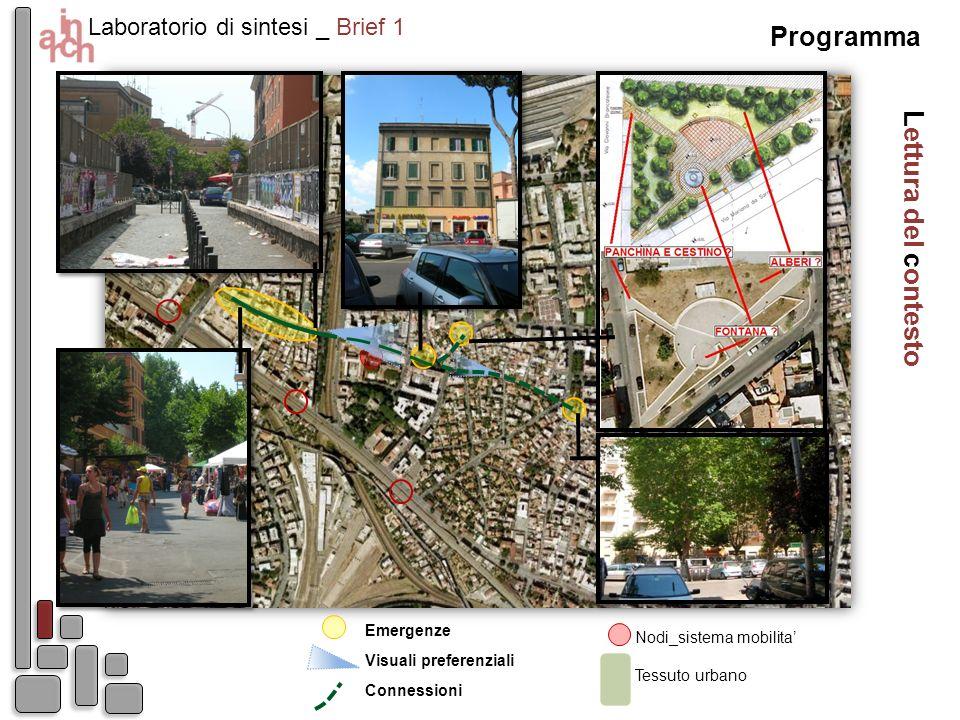 Lettura del contesto Laboratorio di sintesi _ Brief 1 Nodi_sistema mobilita Emergenze Visuali preferenziali Tessuto urbano Connessioni Programma