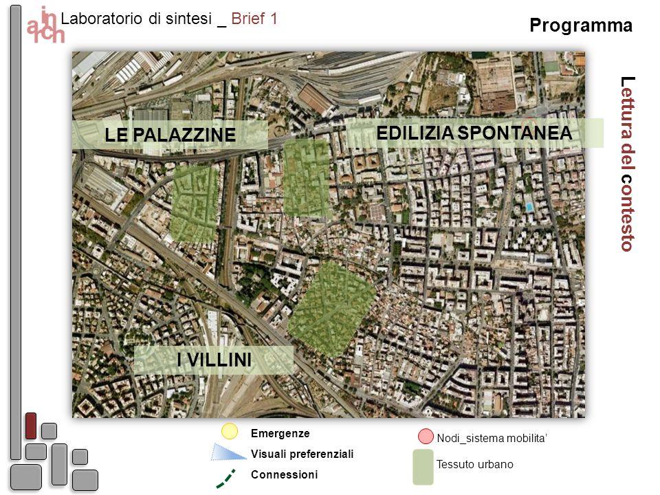 Lettura del contesto Laboratorio di sintesi _ Brief 1 Nodi_sistema mobilita Emergenze Visuali preferenziali Tessuto urbano Connessioni Programma I VIL