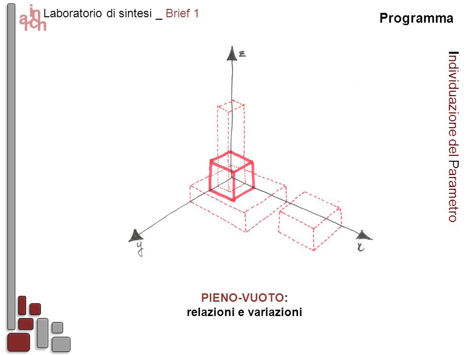 Laboratorio di sintesi _ Brief 1 Programma Individuazione del Parametro PIENO-VUOTO: relazioni e variazioni