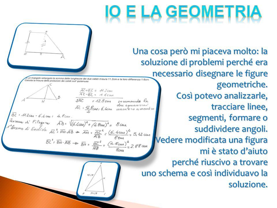 Una cosa però mi piaceva molto: la soluzione di problemi perché era necessario disegnare le figure geometriche. Così potevo analizzarle, tracciare lin