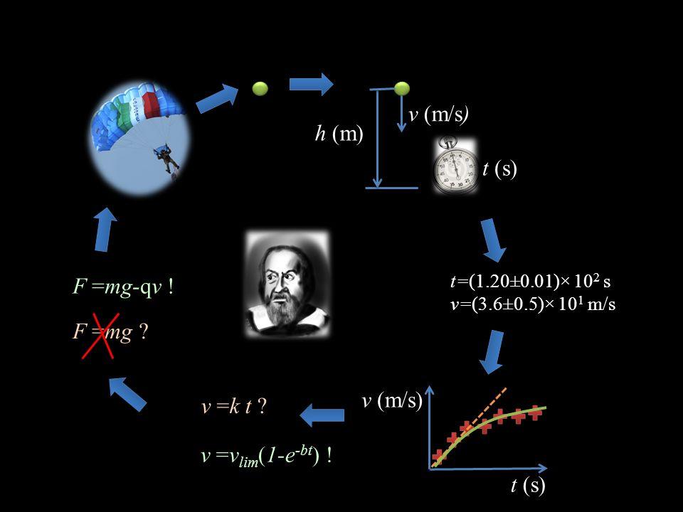 h (m) v (m/s) t (s) t=(1.20±0.01)× 10 2 s v=(3.6±0.5)× 10 1 m/s v (m/s) t (s) v =k t ? v =v lim (1-e -bt ) ! F =mg ? F =mg-qv !