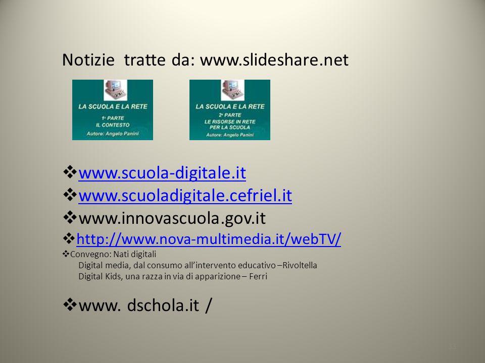 33 Notizie tratte da: www.slideshare.net www.scuola-digitale.it www.scuoladigitale.cefriel.it www.innovascuola.gov.it http://www.nova-multimedia.it/webTV/ Convegno: Nati digitali Digital media, dal consumo allintervento educativo –Rivoltella Digital Kids, una razza in via di apparizione – Ferri www.