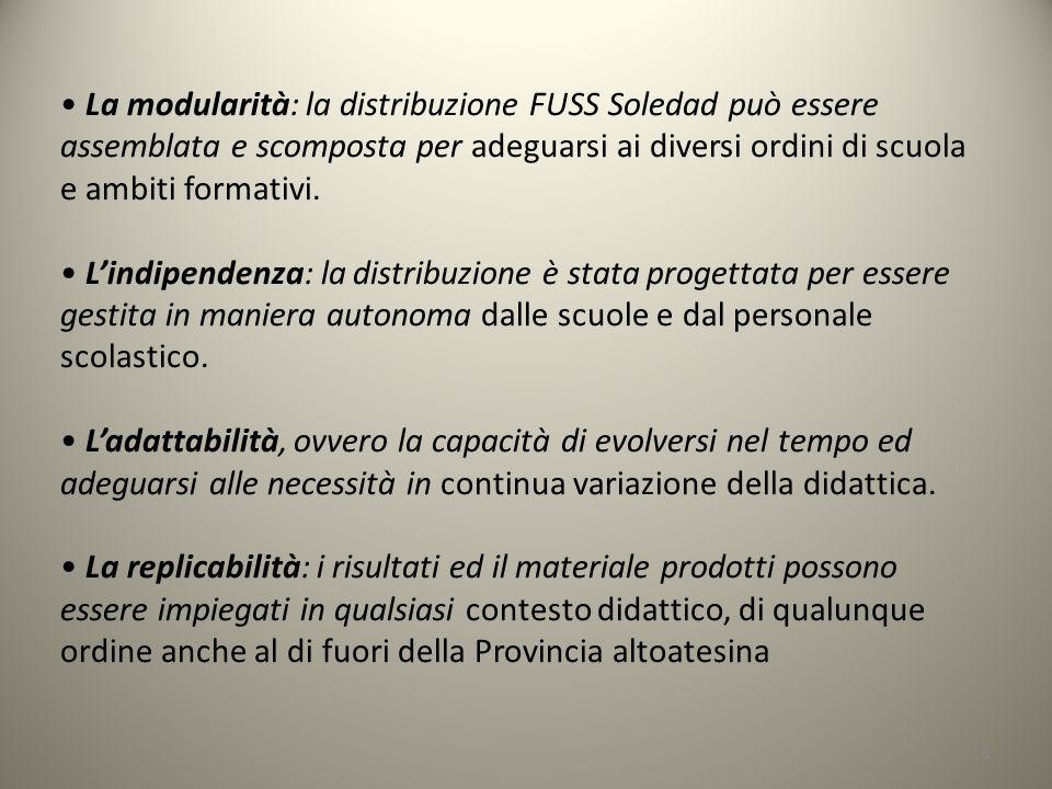 8 La modularità: la distribuzione FUSS Soledad può essere assemblata e scomposta per adeguarsi ai diversi ordini di scuola e ambiti formativi.