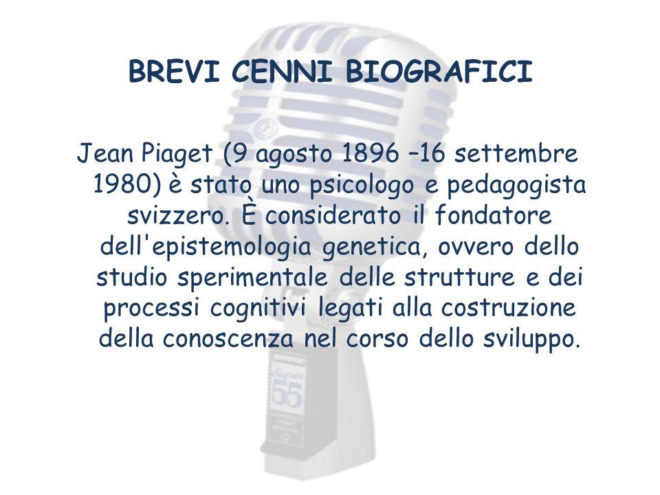 BREVI CENNI BIOGRAFICI Jean Piaget (9 agosto 1896 –16 settembre 1980) è stato uno psicologo e pedagogista svizzero. È considerato il fondatore dell'ep