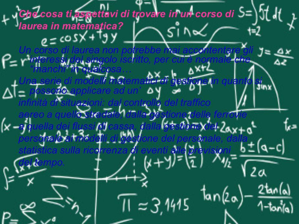 Che cosa ti aspettavi di trovare in un corso di laurea in matematica? Un corso di laurea non potrebbe mai accontentare gli interessi del singolo iscri