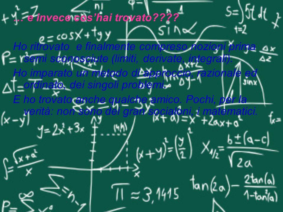 … e invece coshai trovato???? Ho ritrovato e finalmente compreso nozioni prima semi sconosciute (limiti, derivate, integrali). Ho imparato un metodo d
