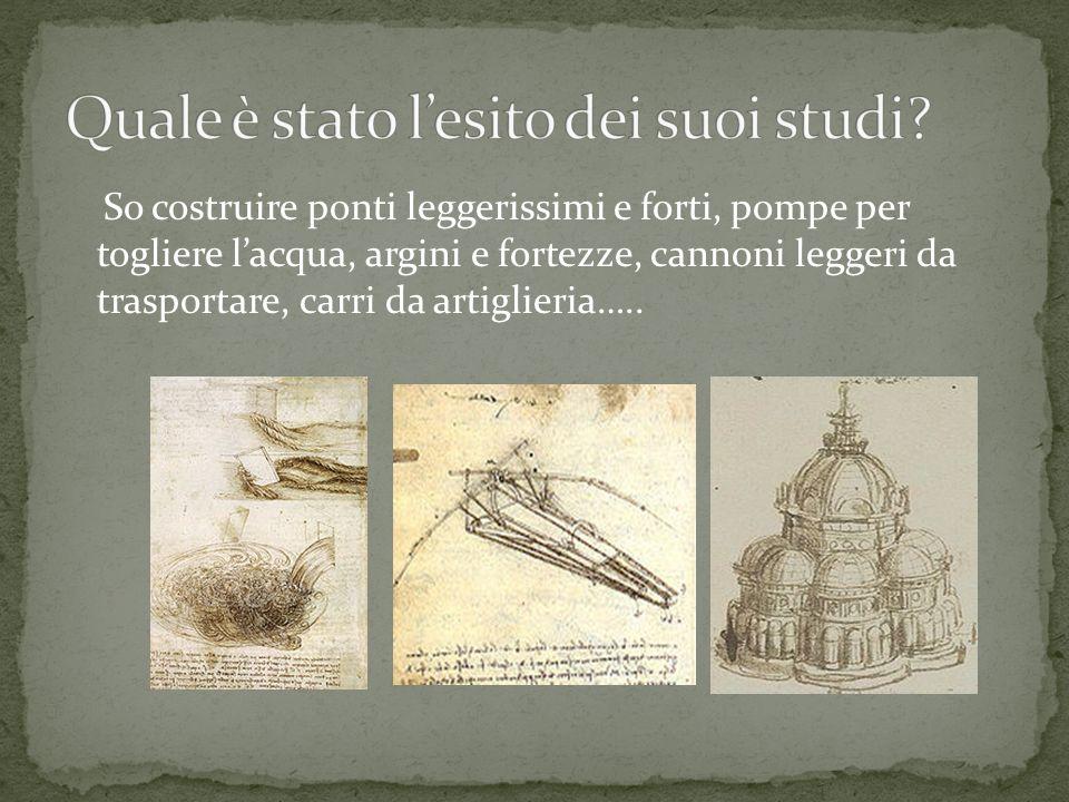 So costruire ponti leggerissimi e forti, pompe per togliere lacqua, argini e fortezze, cannoni leggeri da trasportare, carri da artiglieria…..