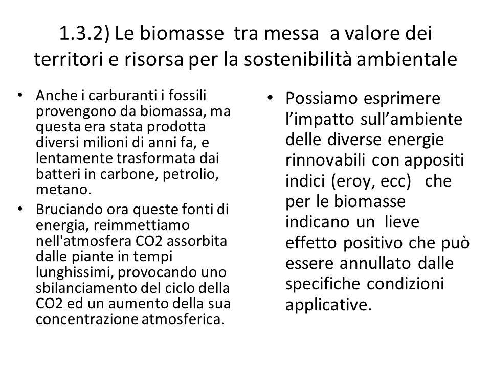 1.3.2) Le biomasse tra messa a valore dei territori e risorsa per la sostenibilità ambientale Anche i carburanti i fossili provengono da biomassa, ma questa era stata prodotta diversi milioni di anni fa, e lentamente trasformata dai batteri in carbone, petrolio, metano.
