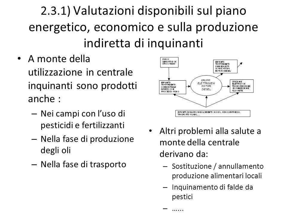 2.3.1) Valutazioni disponibili sul piano energetico, economico e sulla produzione indiretta di inquinanti A monte della utilizzazione in centrale inqu
